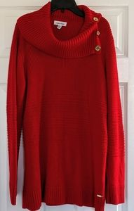 Calvin Klein Cowl Neck Sweater Red Gold Buttons